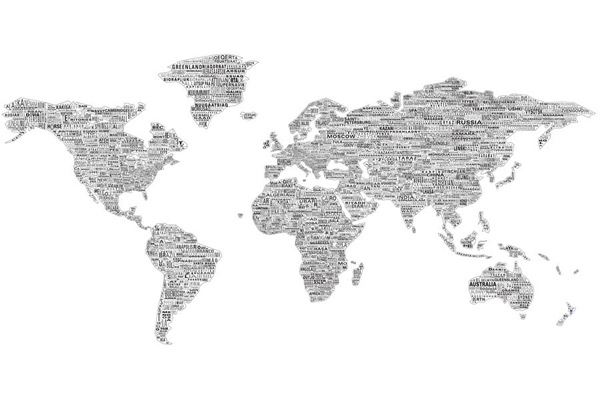 Mad for mid century wordy world map mural for Black and white world map mural
