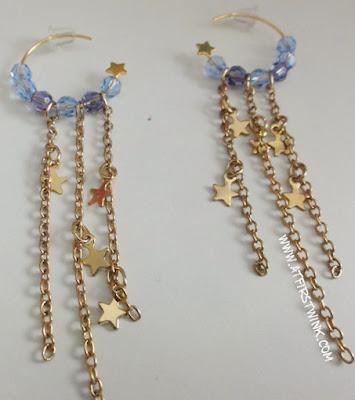 handmade swarovski earrings light blue and purple