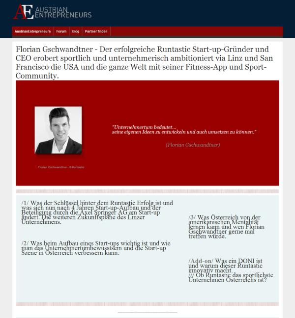 Florian Gschwandtner erobert mit Runtastics Fitness-Apps und Sport-Community sportlich und unternehmerisch ambitioniert via Linz und San Francisco die USA und die ganze Welt.