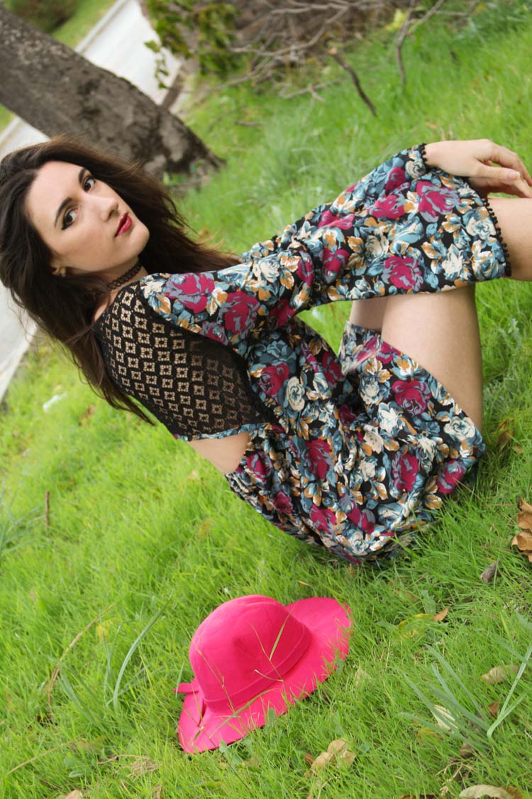 long sleeve flower dress, burgundy hat