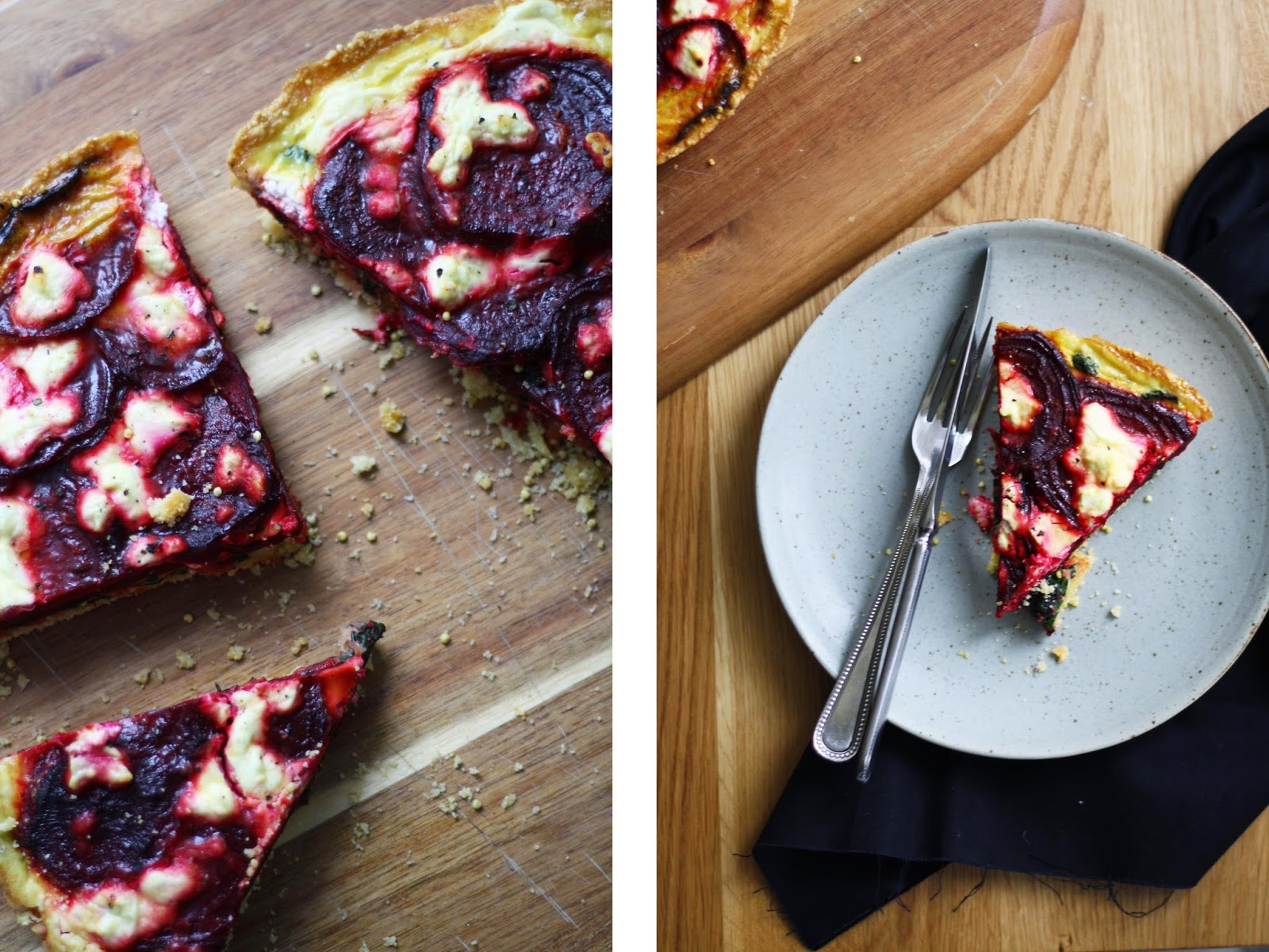 Beet + Goat Cheese Tart with a Cornmeal Millet Curst | sevengrams