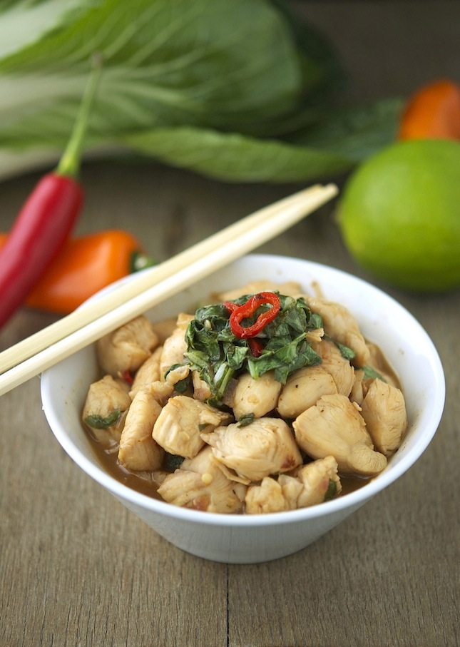 Chicken, Bok Choy and Basil Stir-Fry Print this recipe!
