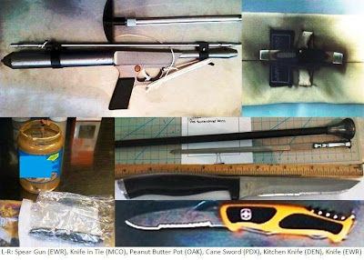 Spear gun, Knives, Sword Cane, Drugs Concealed in Peanut Butter