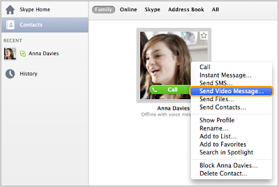 How to Send Skype Video Message in Mac OS X?