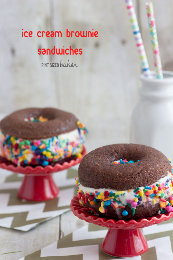 Brownie ice cream sandwiches pint sized baker easy brownies baked in doughnut forms and then transformed into brownie ice cream sandwiches the ccuart Gallery