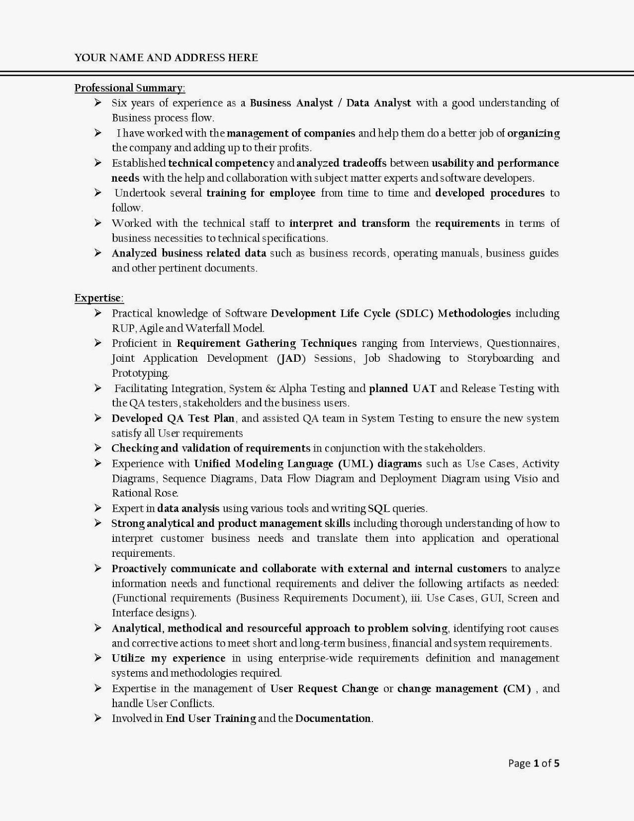 analyst resume business analyst resume sample page template word financial example