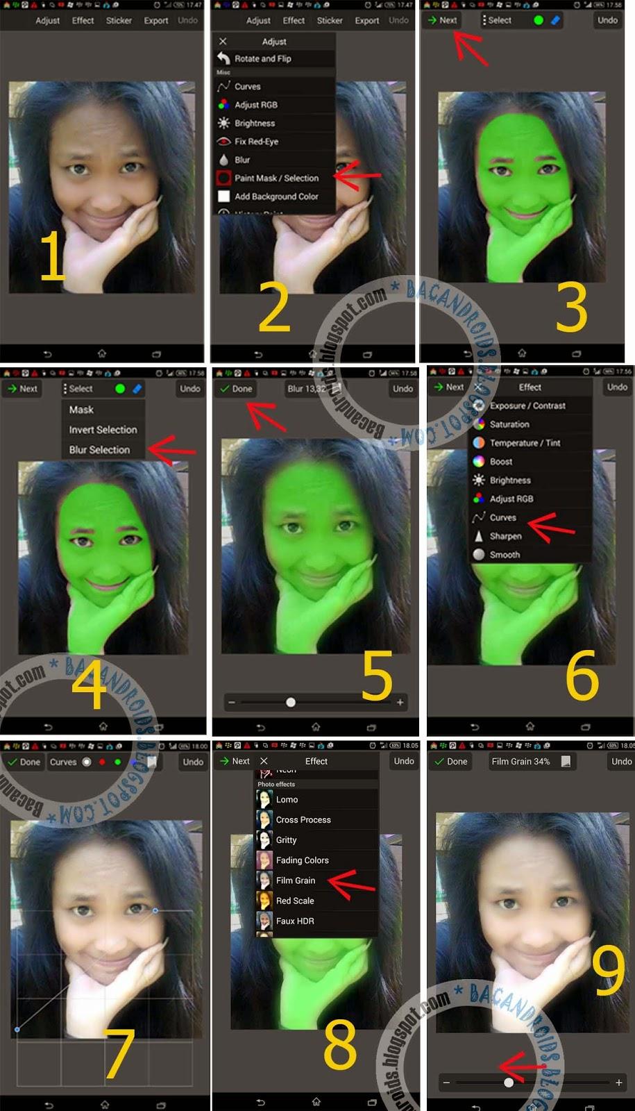 edit foto Wajah yang tadinya jelek jadi Super Cantik dengan PicSay Pro