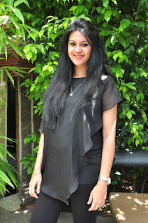 Kamna Jetmalani in transparent Black Top at chandrika movie press meet event