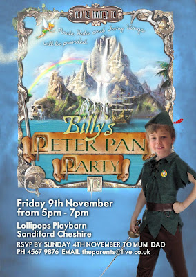 Peter Pan Party Personalized Invitation with photo