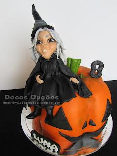 bolo halloween bruxa abóbora bragança