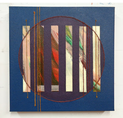 mixed media artwork abstract with circles and lines blue and earth tones