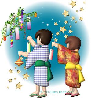 七夕の飾り付けをする子供達のイラスト