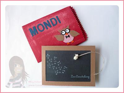 Stampin' Up! Rosa Mädchen Einschulungskarte mit der Eulenstanze, Mini-Leckereientüte und den Beeindruckenden Buchstaben.