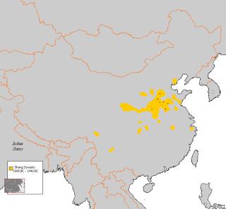 Mapa de China con la ubicación de la segunda Dinastía Shang