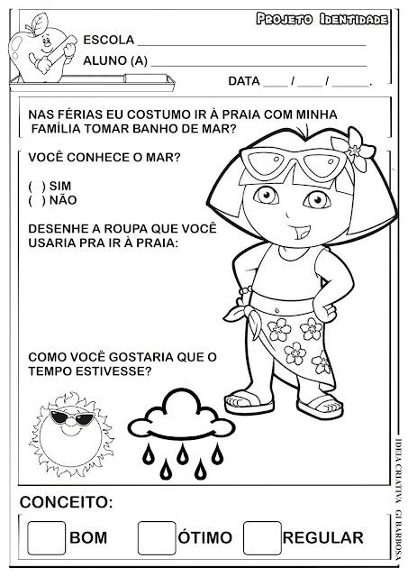 Atividade Dora Aventureira Férias Identidade