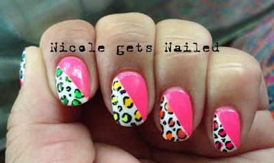 Neon Pink Neon Leopard Skittles Nails