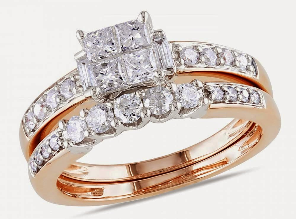 Rose Gold Bridal Set Rings, Rectangle White Diamond Design pictures hd