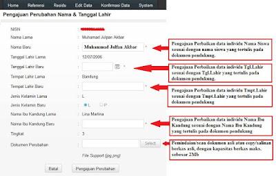Cara Mudah Edit Nama Tanggal Lahir Siswa melalu Verval PD