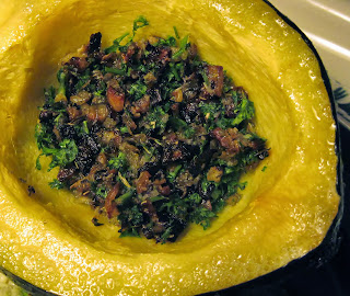 Acorn squash with roasted garlic & herb filling