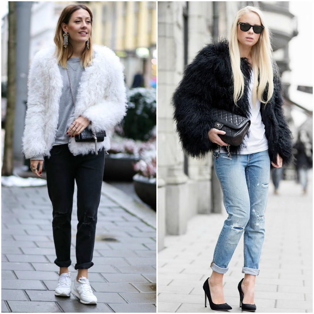 fashion blogger outfits - street style fashion trends - faux fur coats boyfriend jeans rolled cuffs - trainers heels - plain tshirt - quilted bag