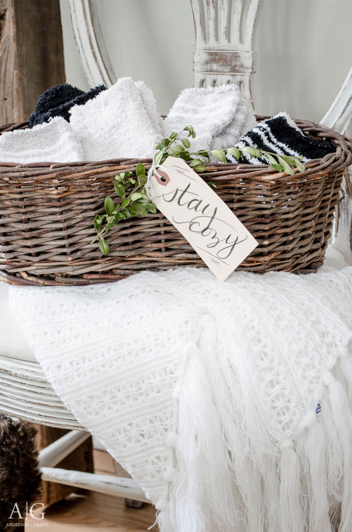 Basket Of Cozy Slippers For Your Guests Anderson Grant