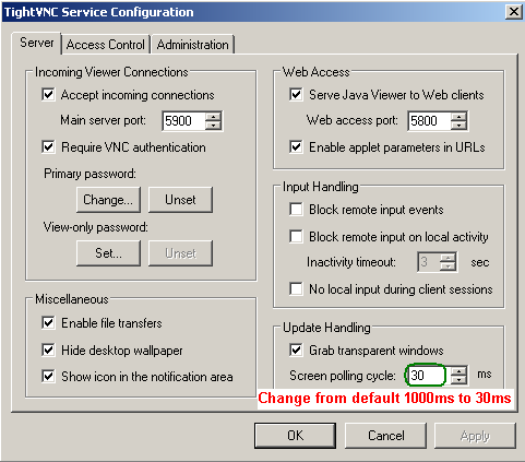 K Share Notes: Speed up TightVNC in Windows7