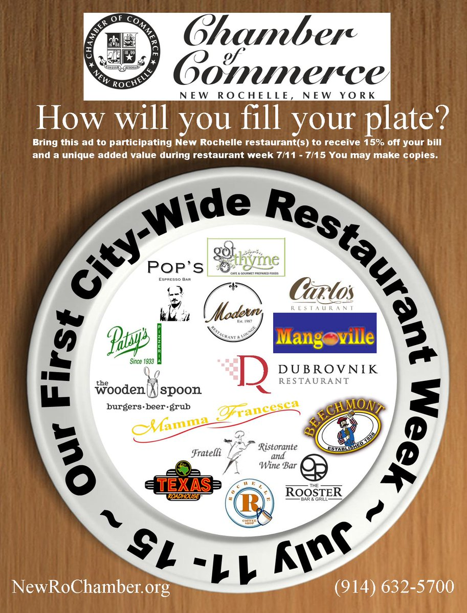 Sponsored by New Rochelle Chamber of Commerce Restaurant Week July 11-15