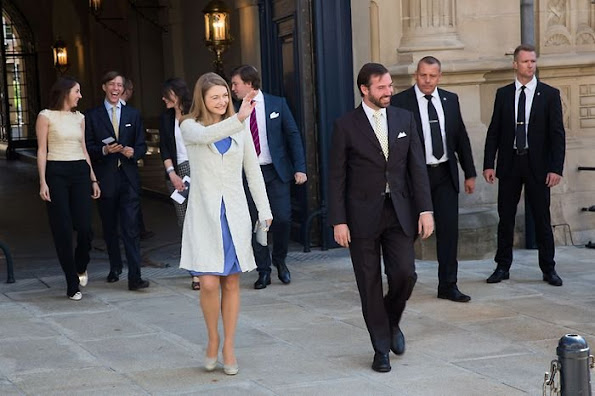 Hereditary Grand Duke Guillaume and Hereditary Grand Duchess Stéphanie, Prince Louis and Princess Tessy and Princess Alexandra and Prince Sébastien