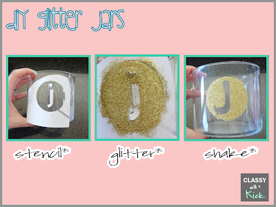 How to glitter an old candle jar with stencil
