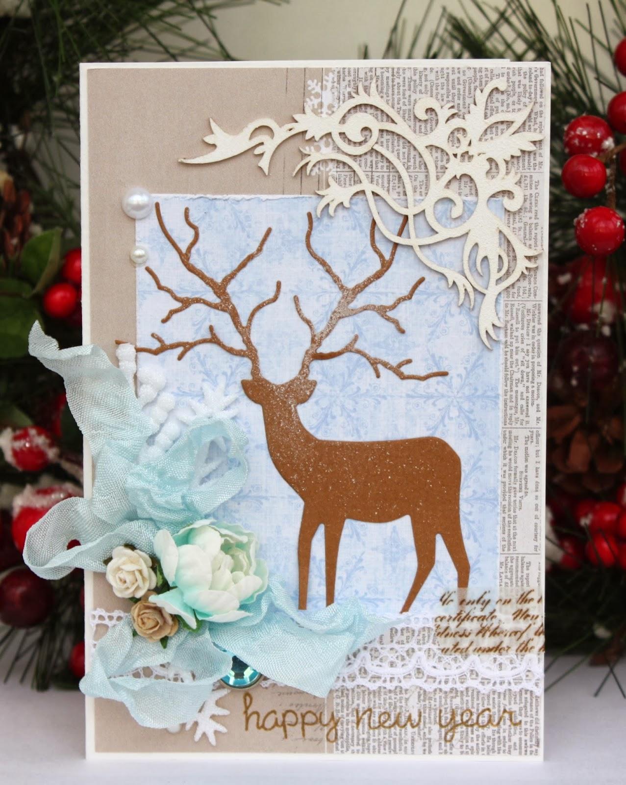 Объёмная открытка оленя