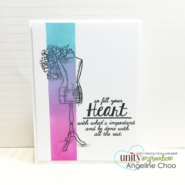ScrappyScrappy: Ombre strip card #scrappyscrappy #unitystampco #card #mamaelephant #dressform #ombre