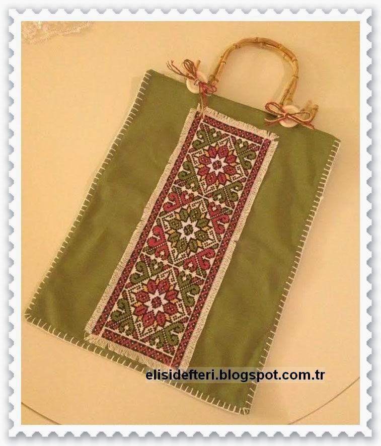 kaneviçe işlemeli çanta