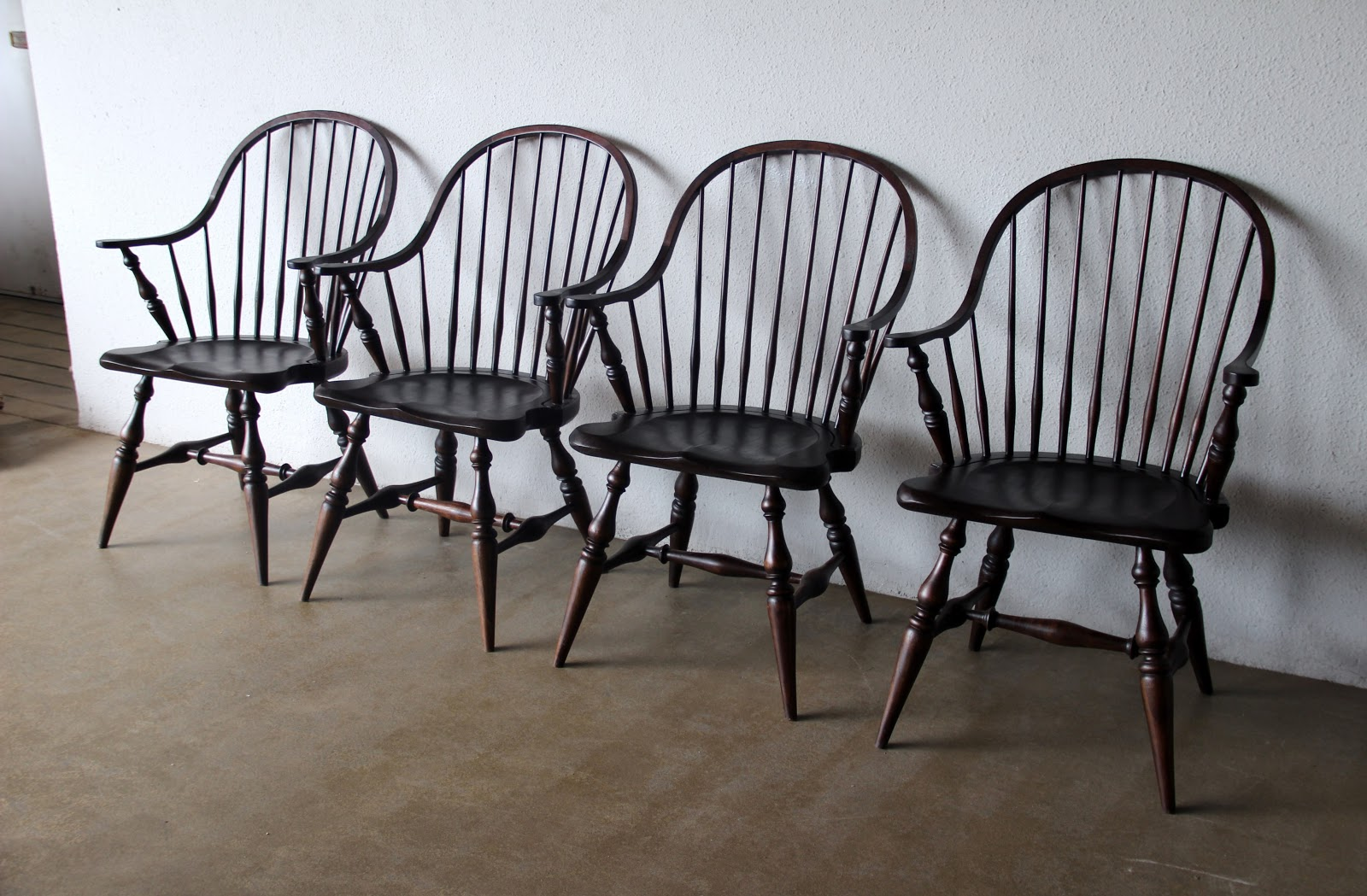 Antique wooden spindle chairs - The Windsor Armchairs In Solid Mahogany Wood Stained To An Antique Finish