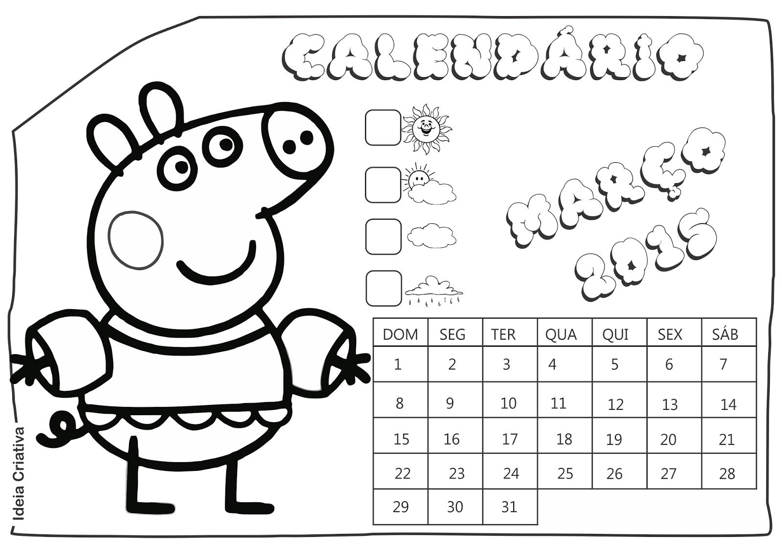 Calendário Março 2015 Peppa Pig e Seus Amigos para Imprimir Grátis