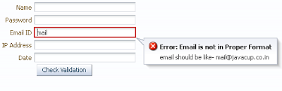 Regex to check Email Id format and in case of failure it show validation message