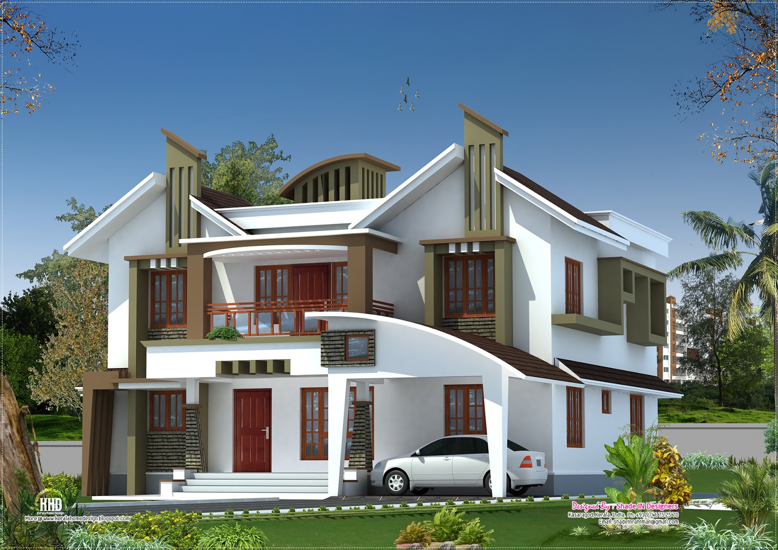 Modern house elevation from Kasaragod, Kerala
