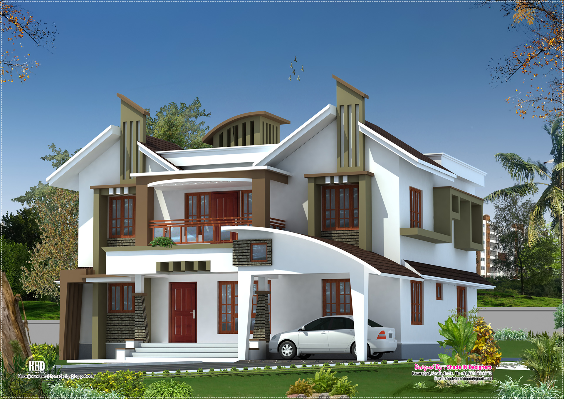 Modern house elevation from kasaragod kerala kerala for Kerala style home designs and elevations
