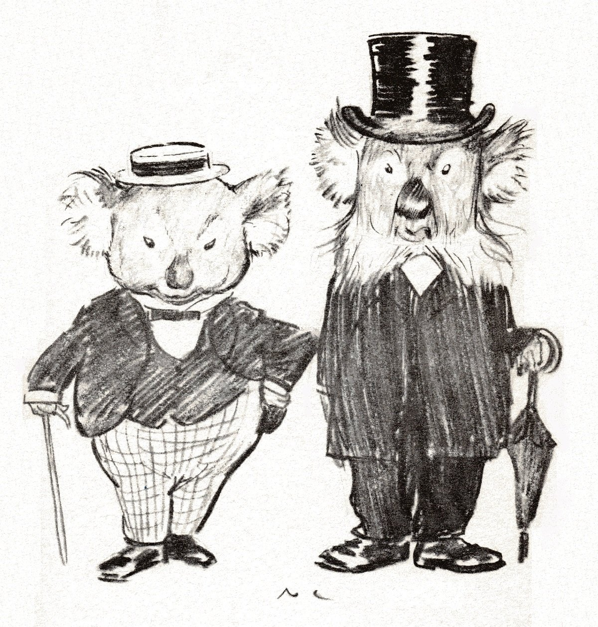 2 anthropomorphic cartoon koala bears dressed in suits