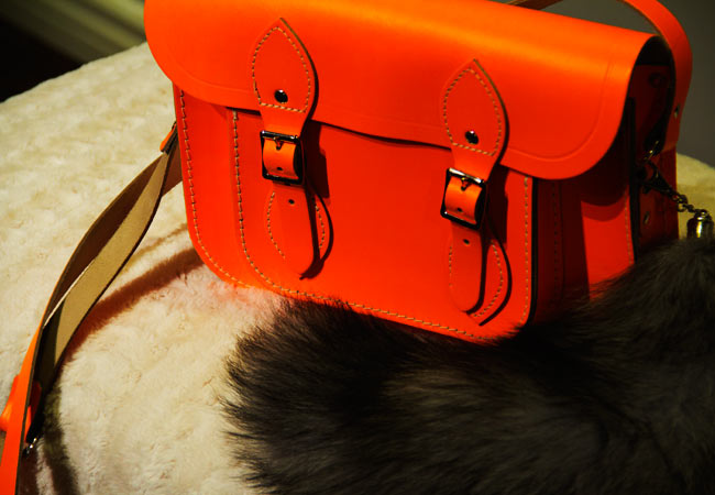 Cambridge Satchel Company, Cambridge Satchel Company Fluoro in Orange, Bright Orange Bag, Faux fox tail, Faux fox tail on bag, Holt Renfrew