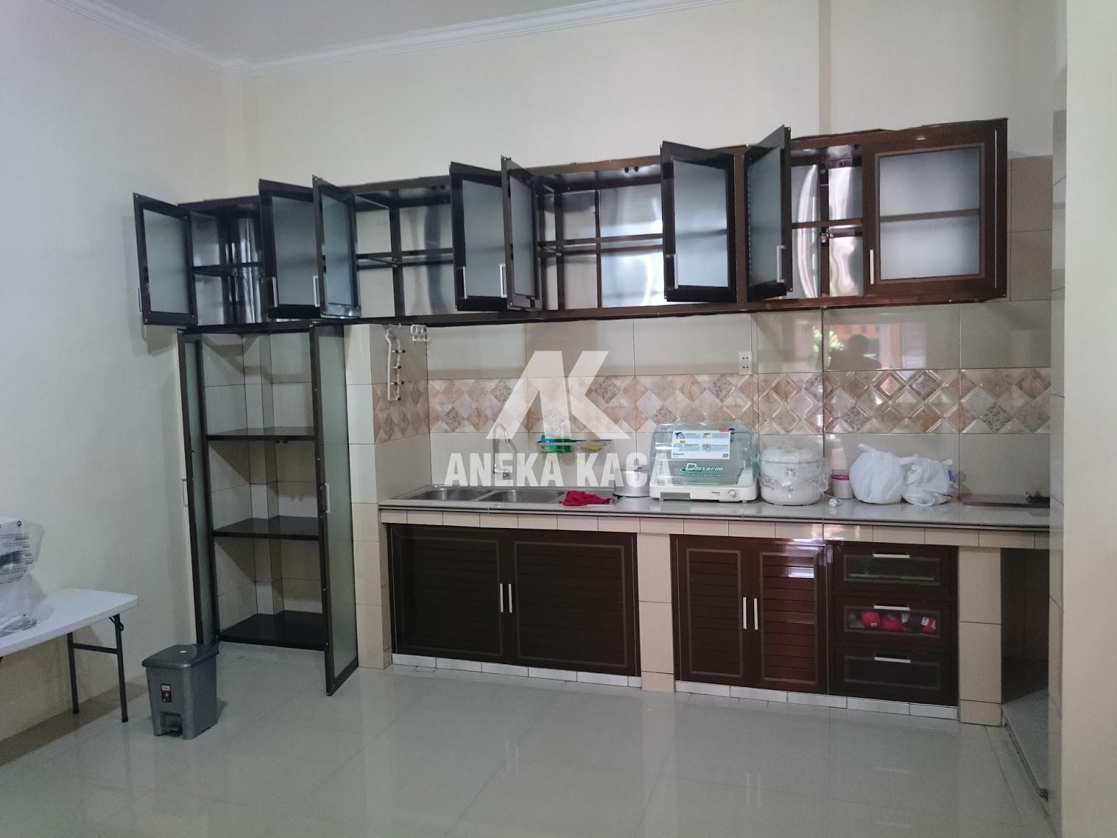Toko aneka kaca kitchen set aluminium lemari piring for Jual kitchen set aluminium