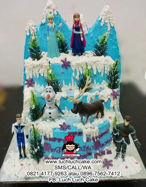 Kue Tart Ulang Tahun Tingkat Tema Frozen Elsa Anna