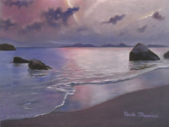 Waiting is a seascape oil painting on panel in hues of pinks, blues and violet, by artist Carla Strozzieri.