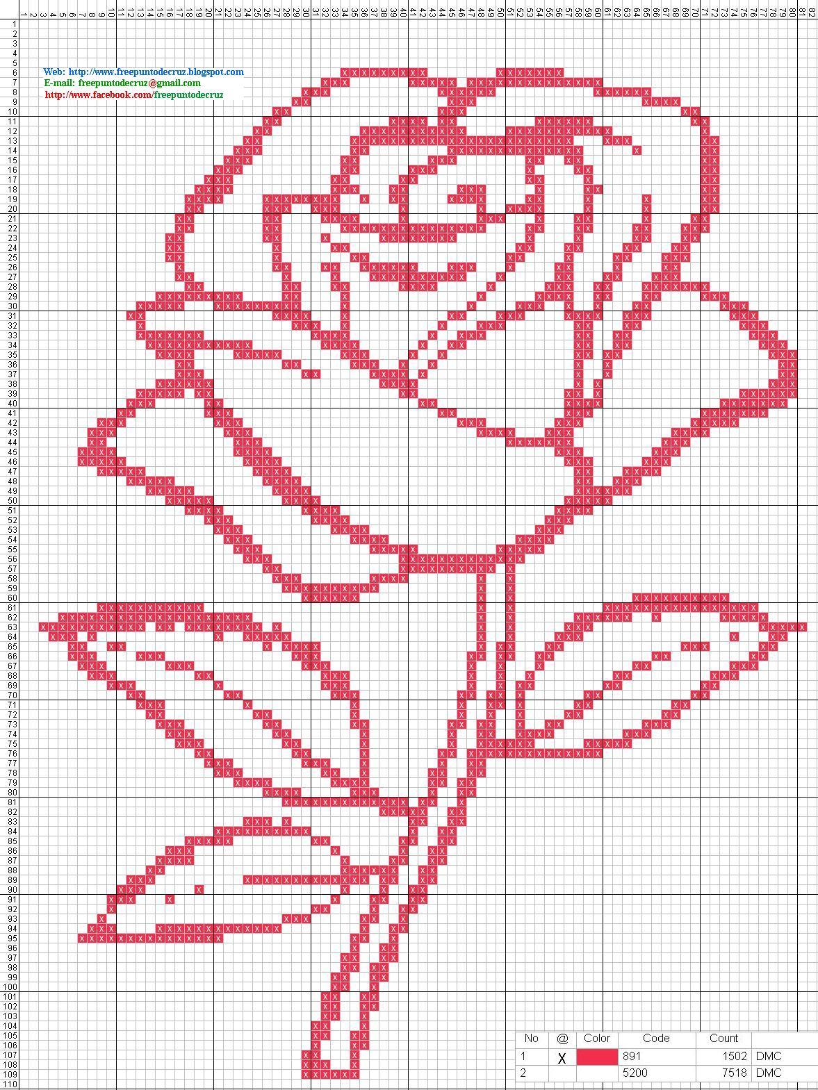 Dibujos punto de cruz gratis rosa punto de cruz - Dibujos para hacer punto de cruz ...