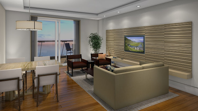 2 of 3: Explorer's Suite living room and dining area. Photo: © Viking Cruises. Unauthorized use is prohibited.