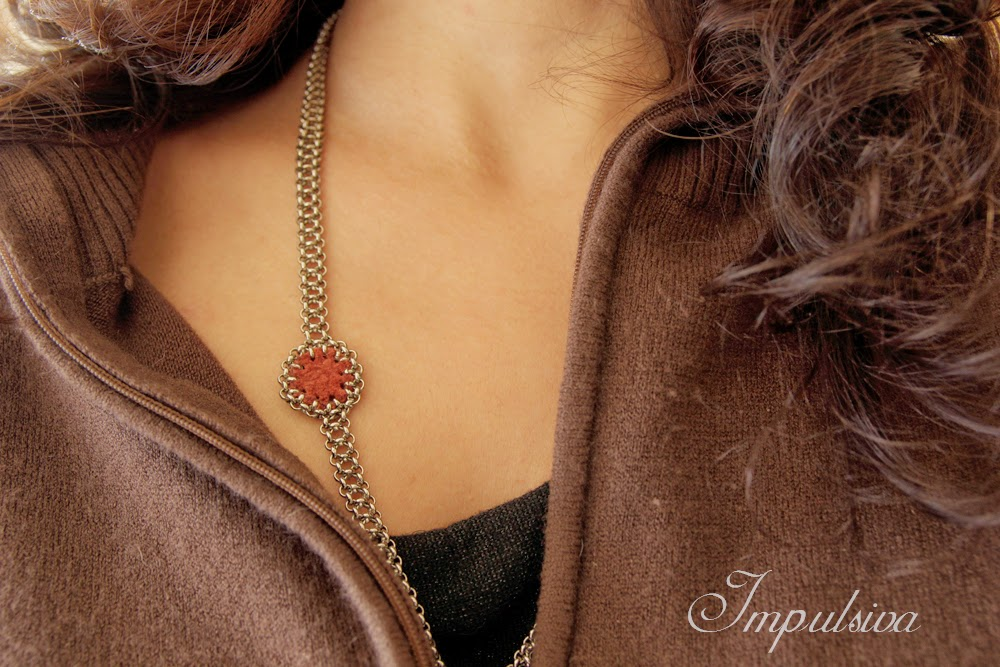 Impulsiva jewelry-silver necklace with crimson  leather