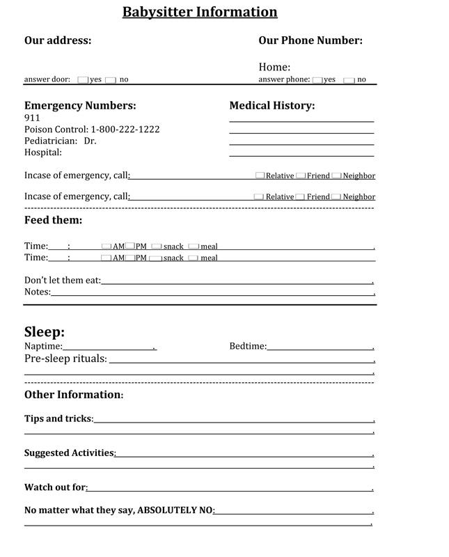 Nerdy image within free printable babysitter information sheet