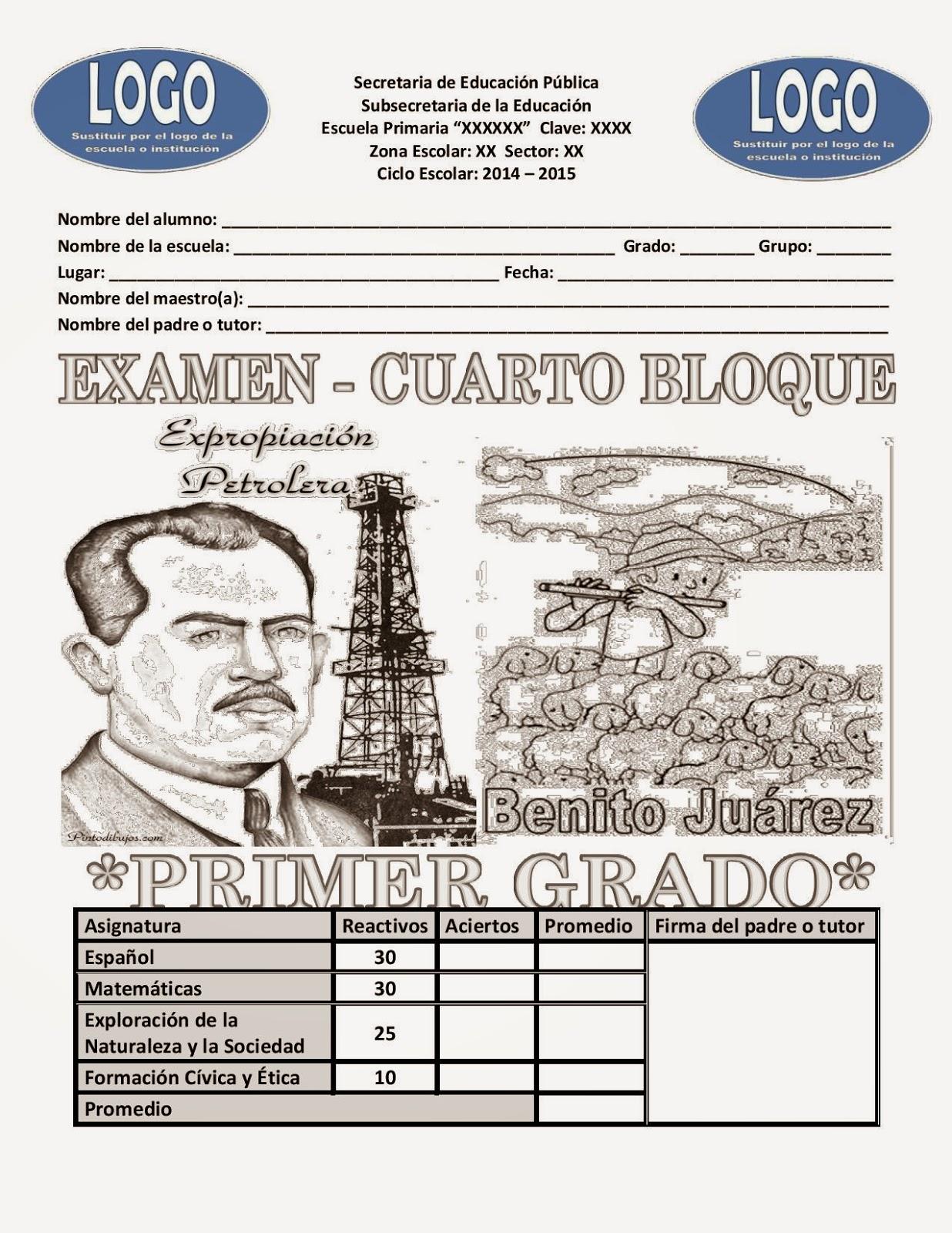 Examen 1er grado Bloque 4 2014-2015 pag 1