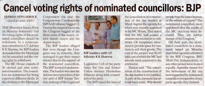Cancel voting rights of nominated councillors : The leaders of BJP who met the advisor were Incharge of the Legal and Legislative Cell of the party Satya Pal Jain and former Union Minister Harmohan Dhawan along with councillors of the party.