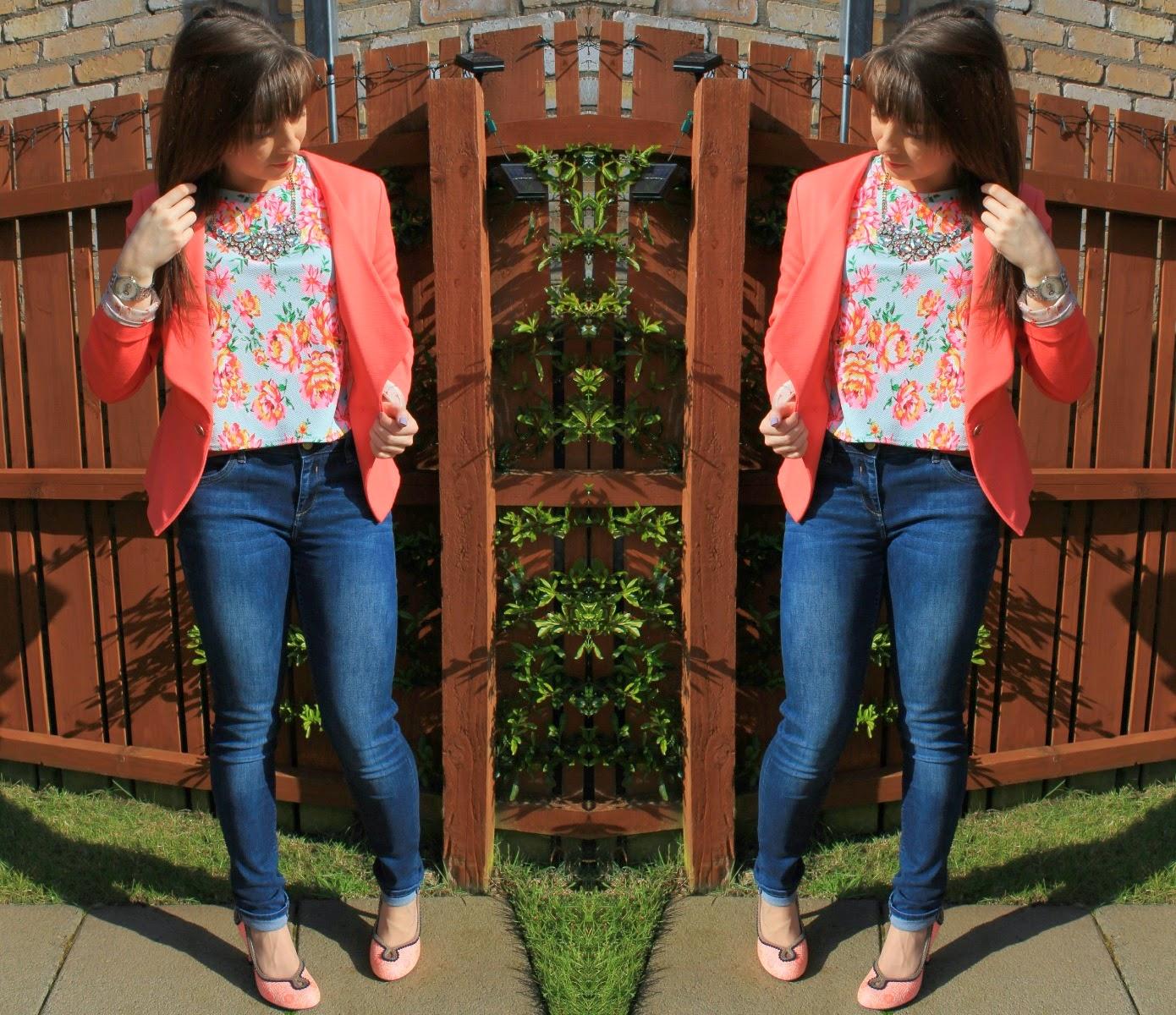 New Look Floral Crop Top & Next Coral Blazer