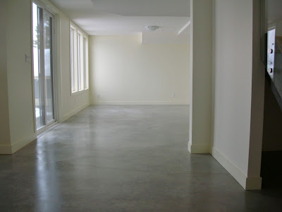 here is an example of a natural concrete existing basement floor that